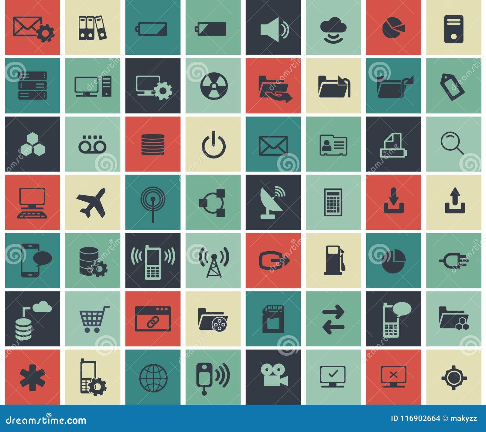 Rete sociale, dati analitici, cellulare ed insieme dell icona di applicazione web Vettore piano