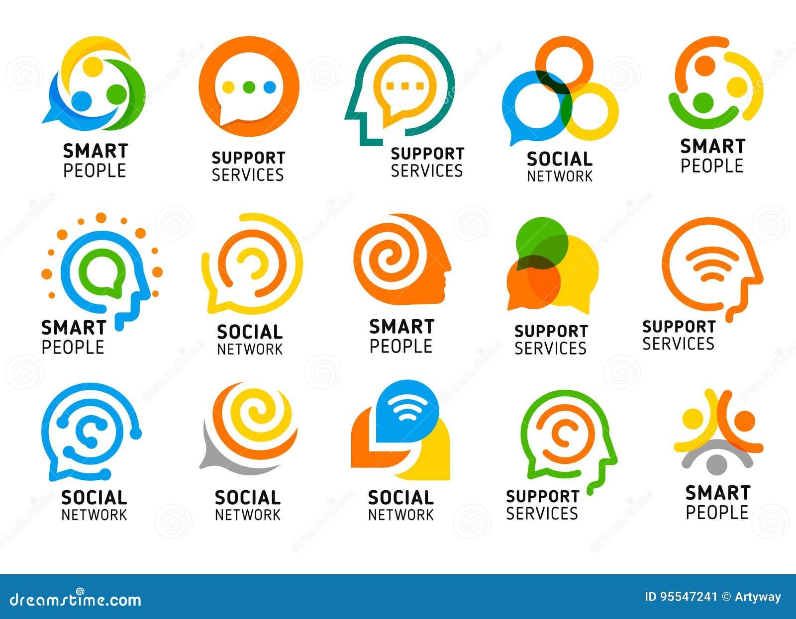 Rete sociale per la gente astuta con il cervello creativo Insieme dell icona di servizi di sostegno Raccolta variopinta di logo d