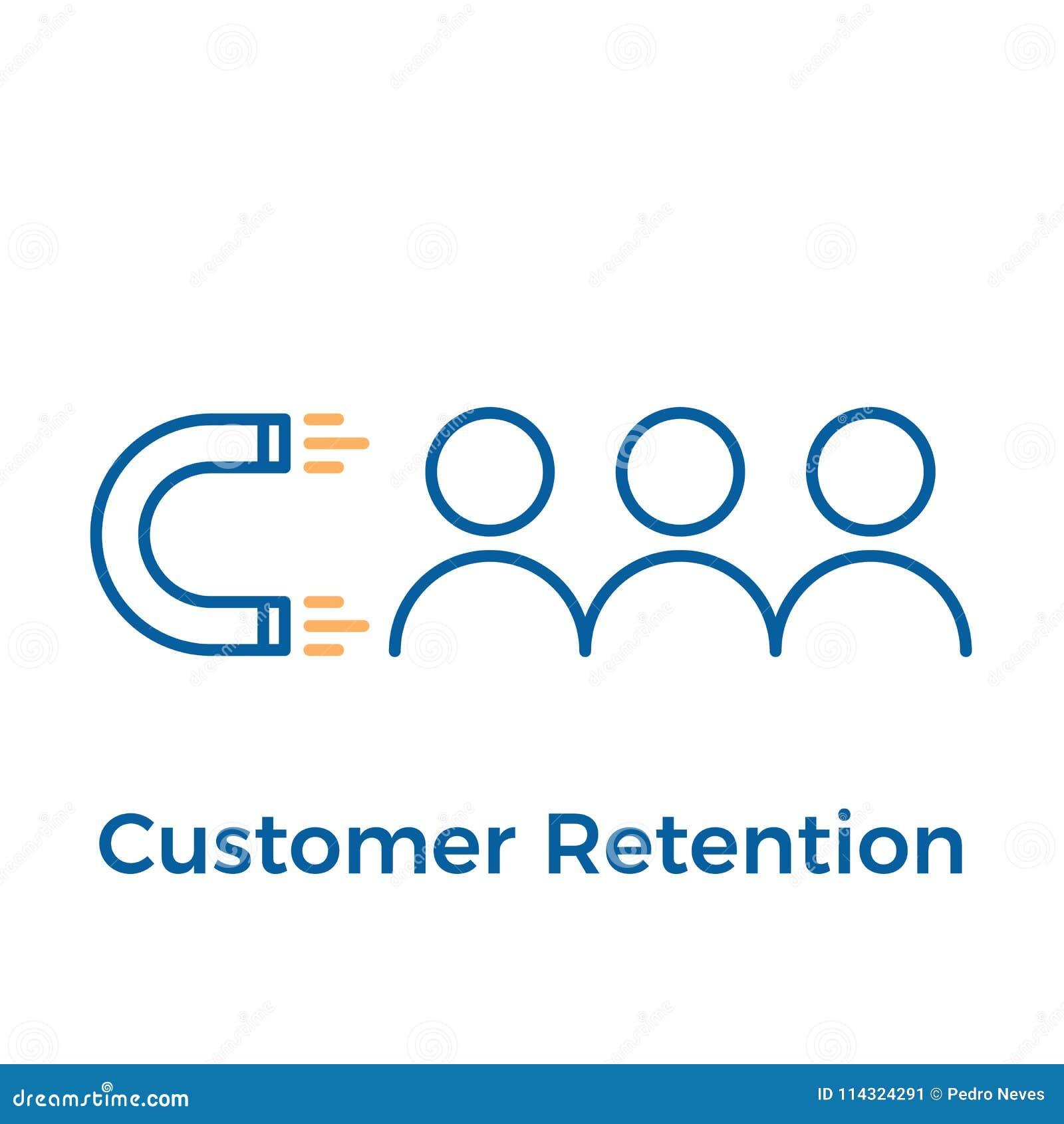 Retención del cliente con diseño del imán y de la gente Ejemplo del icono del vector Márketing de entrada de Digitaces