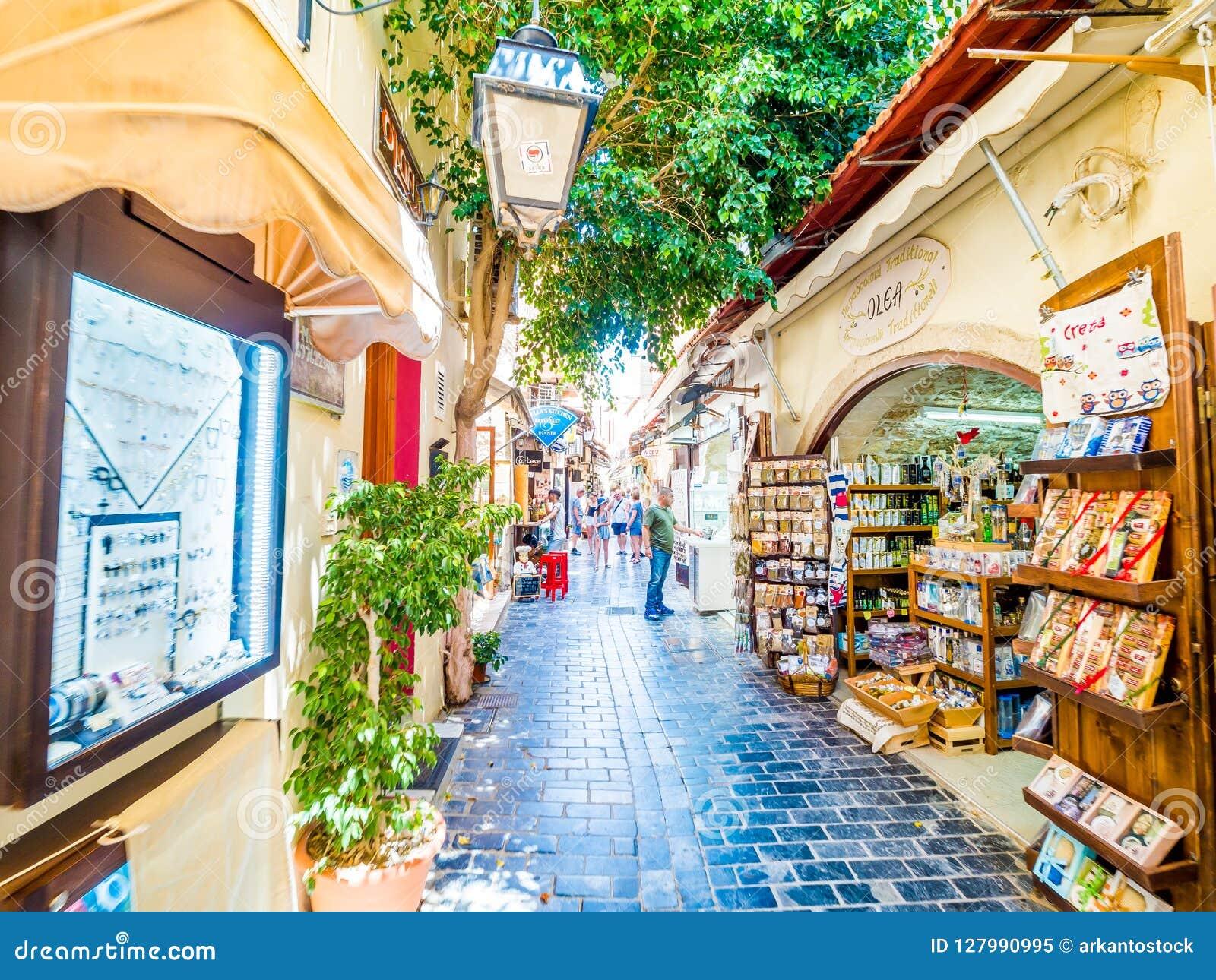 Rethymno Crete Greece Tourist Souvenir Shops With Handicrafts In