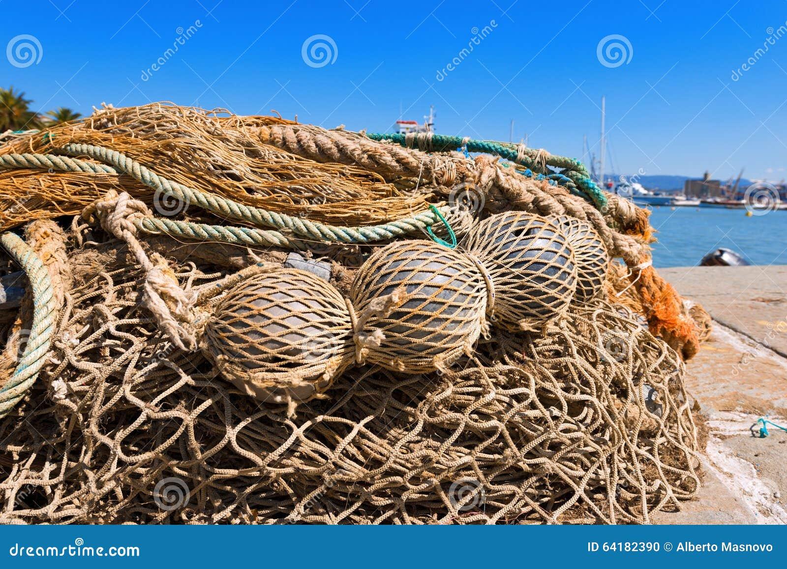 Reti da pesca con le corde ed i galleggianti fotografia - Rete da pesca per decorazioni ...