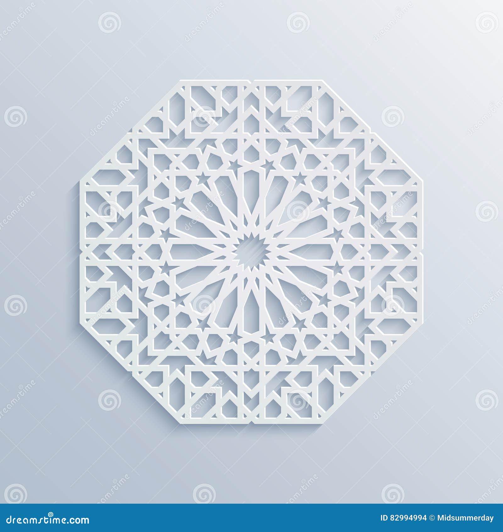 Reticolo geometrico islamico Mosaico musulmano di vettore, motivo persiano Ornamento orientale bianco elegante, arte araba tradiz