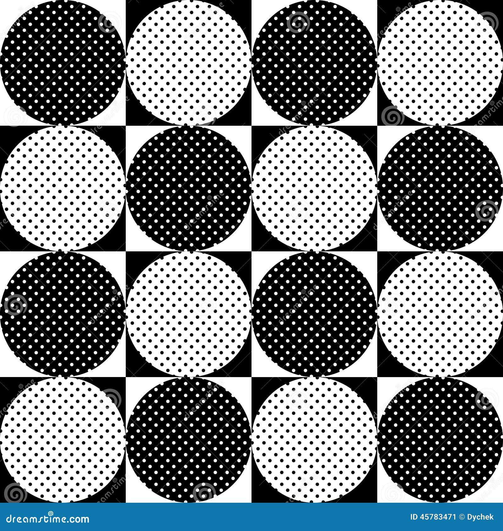 Reticolo geometrico senza giunte Pois in bianco e nero dei cerchi sui ...