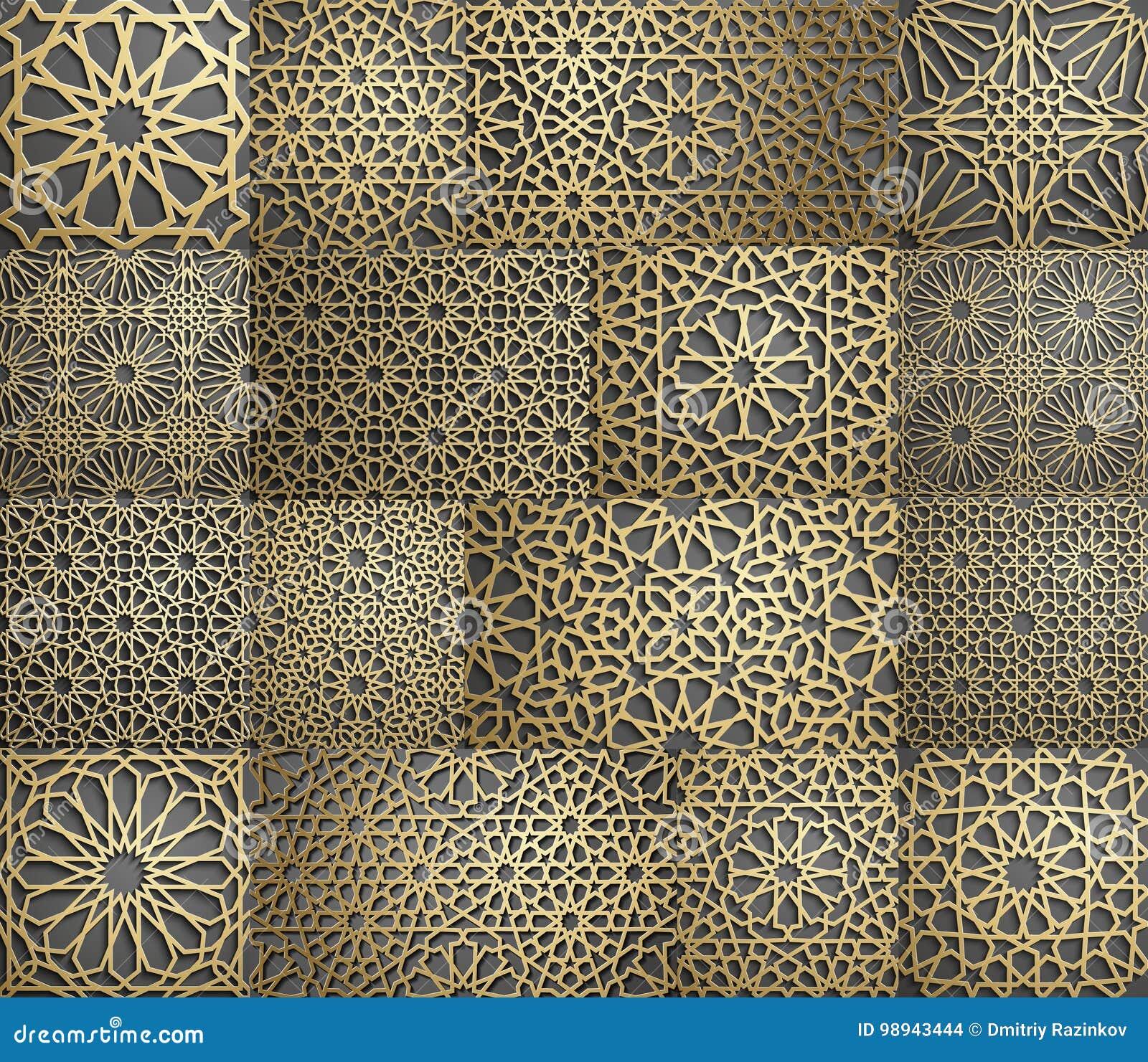 Reticolo islamico Modello geometrico arabo senza cuciture, ornamento orientale, ornamento indiano, motivo persiano, 3D Struttura