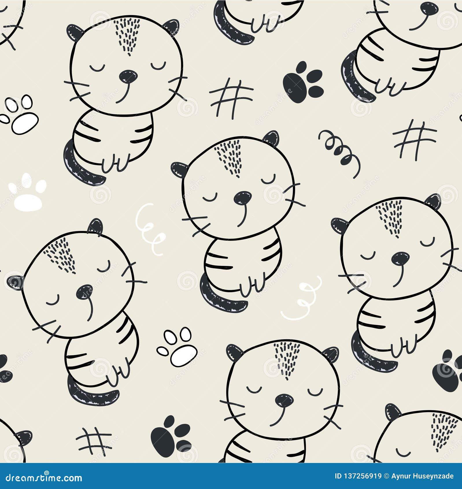 Reticolo senza giunte con i gatti svegli illustrazione di vettore per il tessuto, tessuto