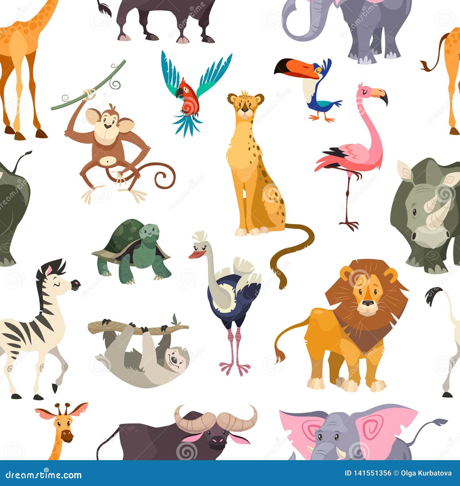 Reticolo senza giunte degli animali selvatici Animale sveglio del bambino di safari della stampa della giungla dello zoo delle fo