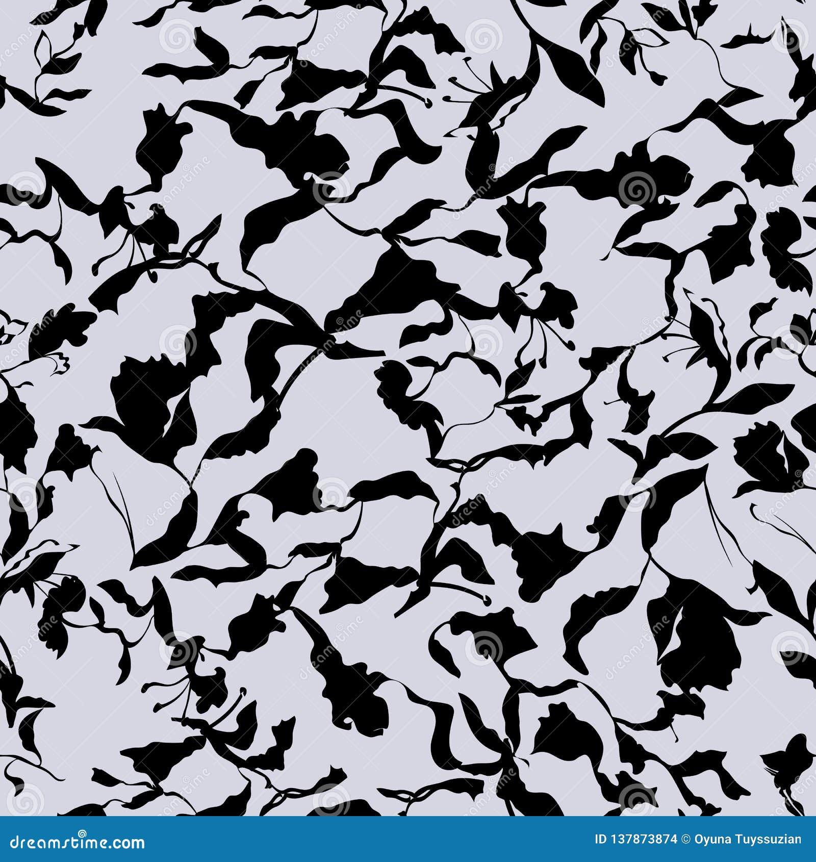 Reticolo senza giunte floreale Foglie nere, fiori, tulipani, iridi, piante su fondo bianco e grigio chiaro