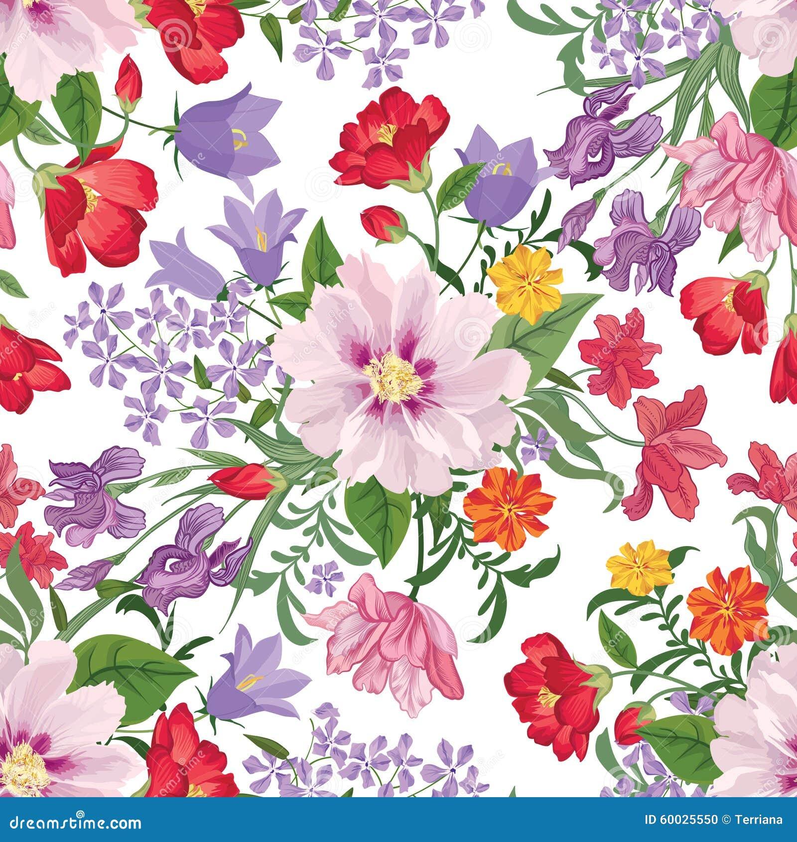 Reticolo senza giunte floreale Priorità bassa del fiore Testo senza cuciture floreale