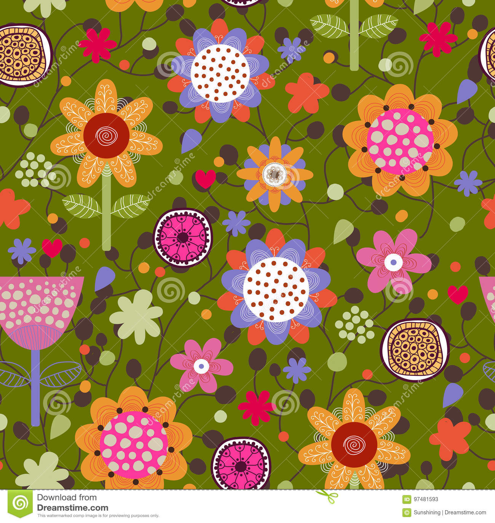 Reticolo senza giunte floreale Struttura senza giunte con i fiori