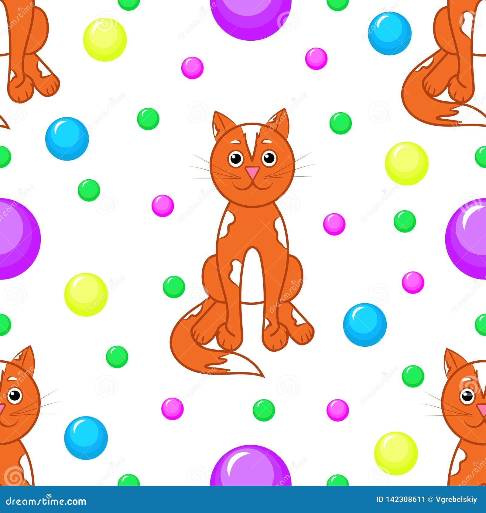 Reticolo senza giunte Gatti e di palle colorate multi