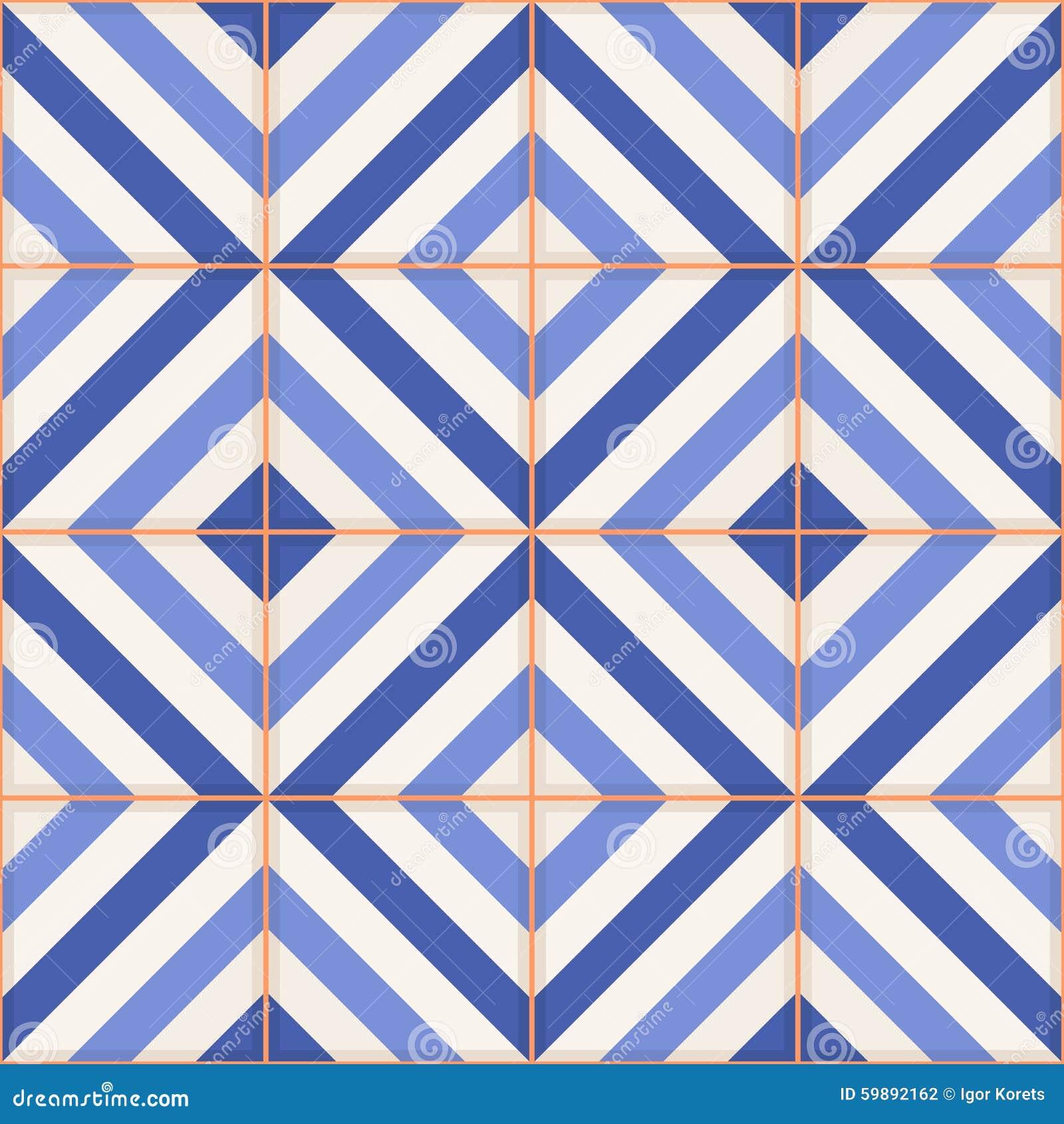 Reticolo senza giunte Mattonelle marocchine, ornamenti delle bande blu