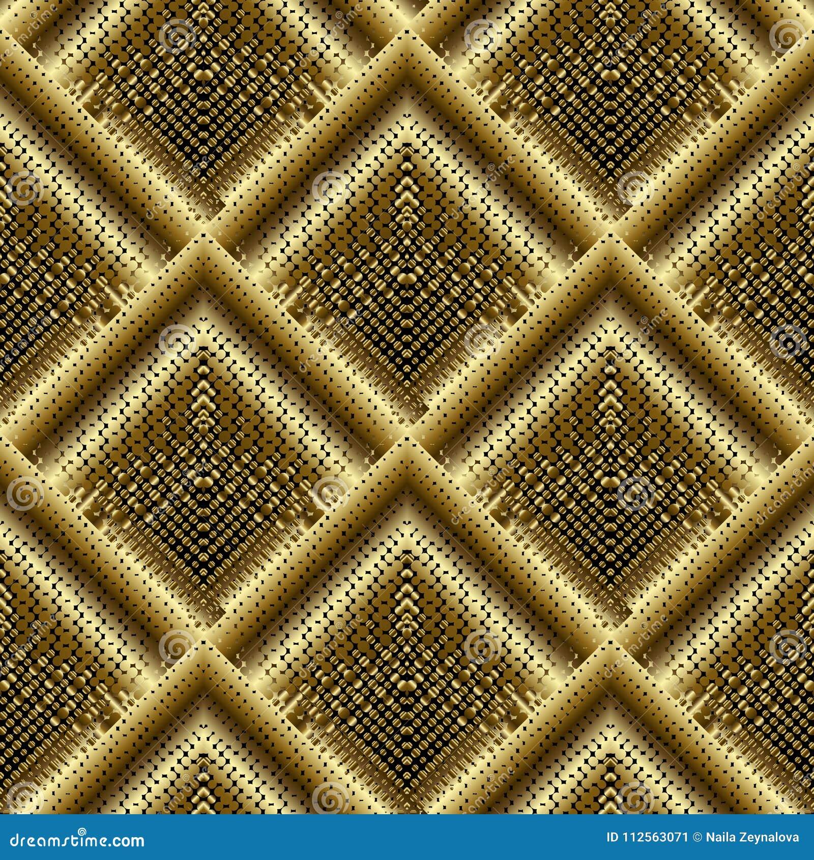 A reticulação do ouro 3d telhou o teste padrão sem emenda do rombo Vetor pontilhado g