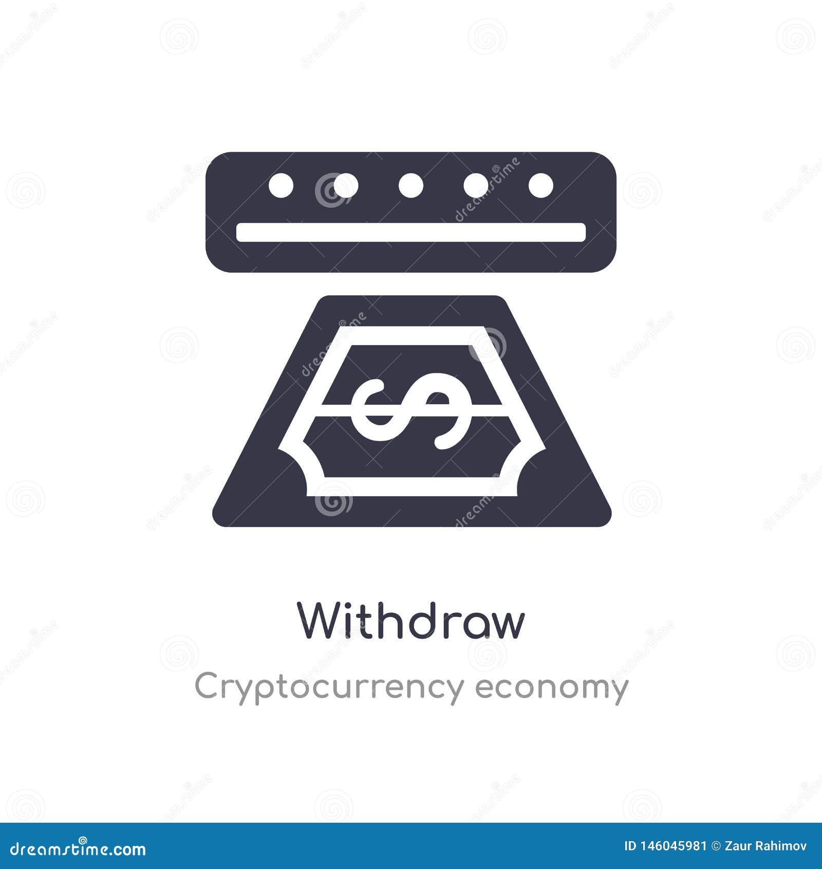 Retire el icono aislado retire el ejemplo del vector del icono de la colección de la economía del cryptocurrency editable cante e