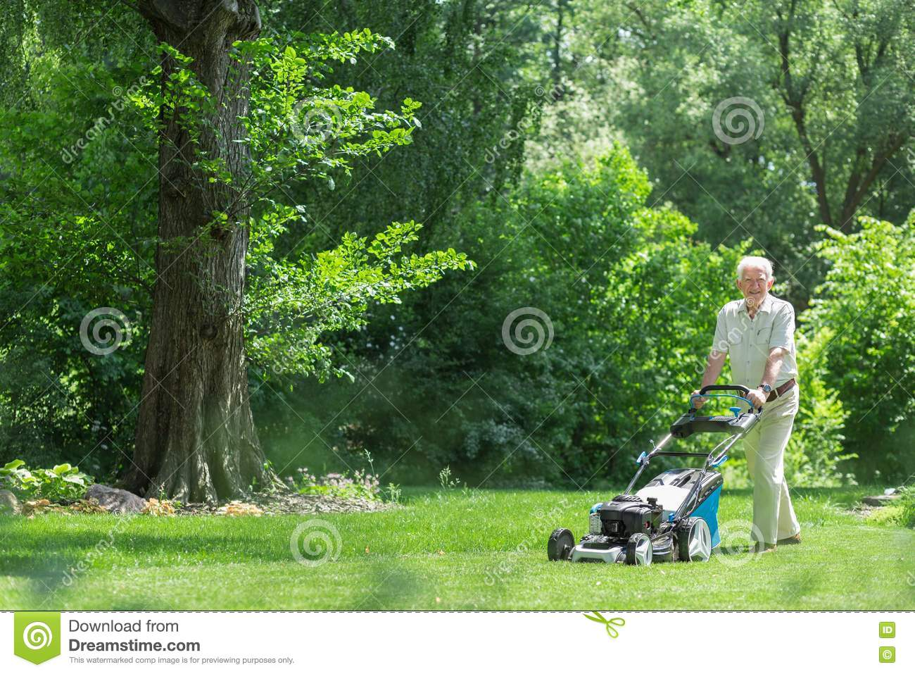 Elderly Man Mowing Lawn Ear Protection Royalty Free Stock