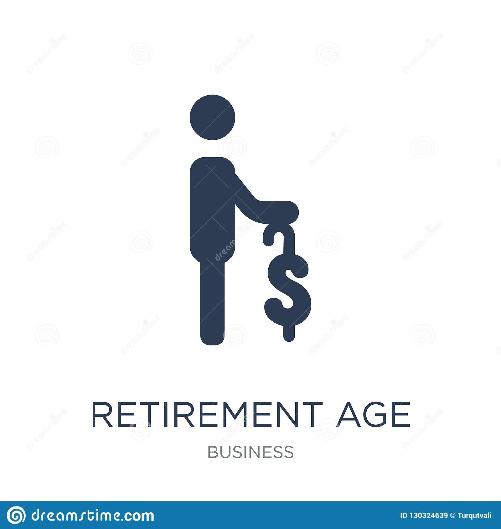 Retirement age icon. Trendy flat vector Retirement age icon on w