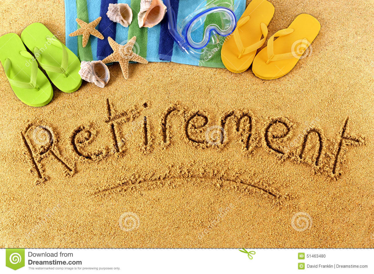 retirement beach vacation writing concept stock photo image of