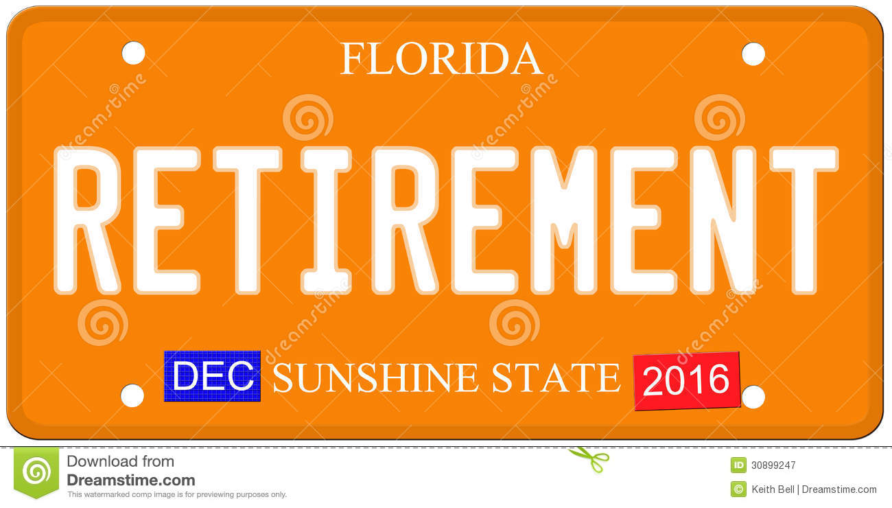 An imitation Florida license plate with December 2016 stickers and ...