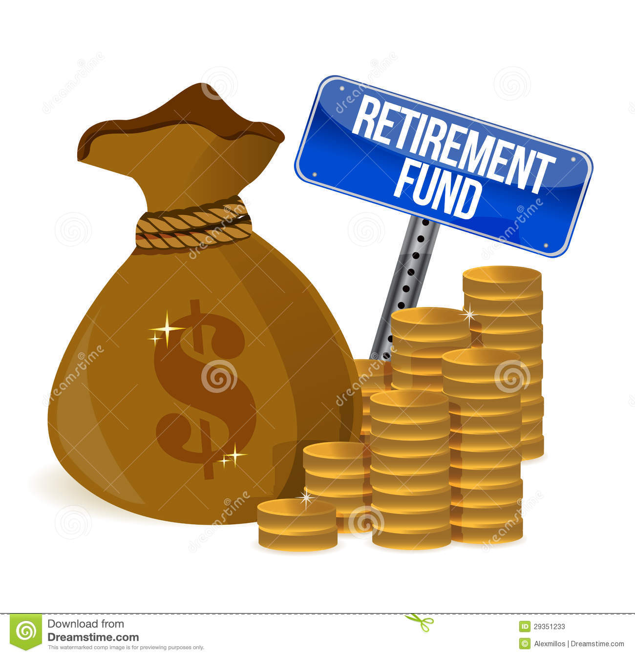 Retirement fund money bag illustration design over a white background.