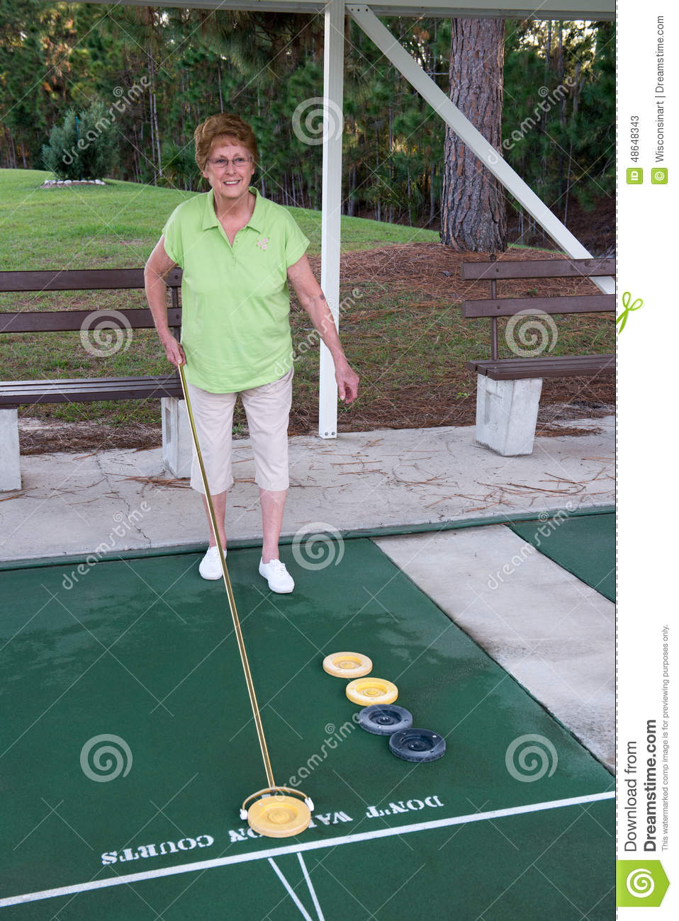 Shuffleboard Area For Senior Citizens Only Funny Sign Old Photo
