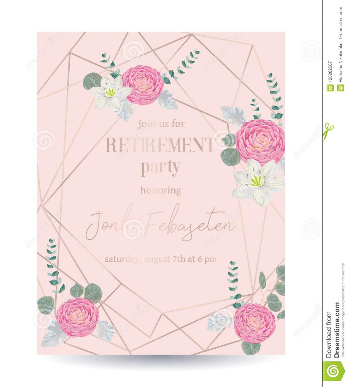 retirement party invitation design template with rose gold