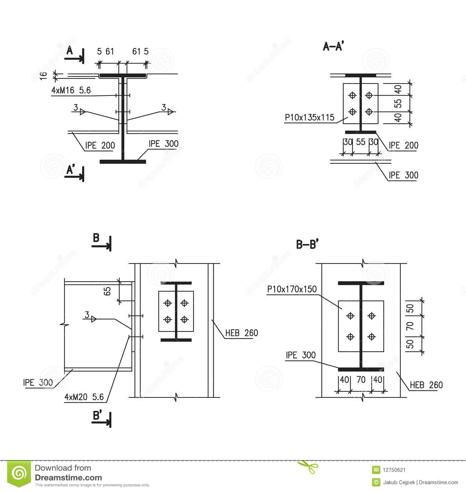 retrait de construction connexion en acier de poutre image stock image 12750621. Black Bedroom Furniture Sets. Home Design Ideas