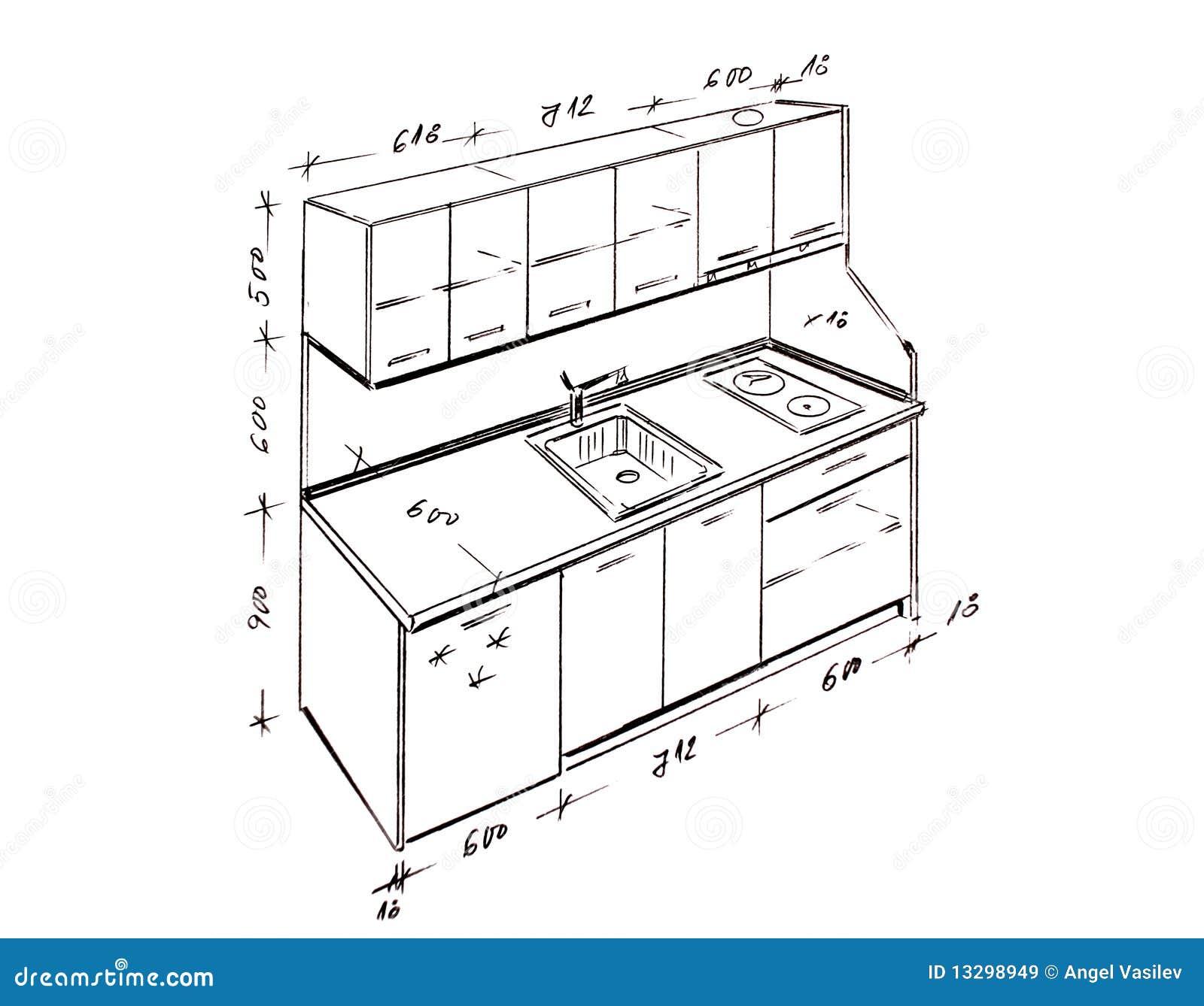 Retrait de dessin main lev e moderne de cuisine de for Perspective cuisine dessin
