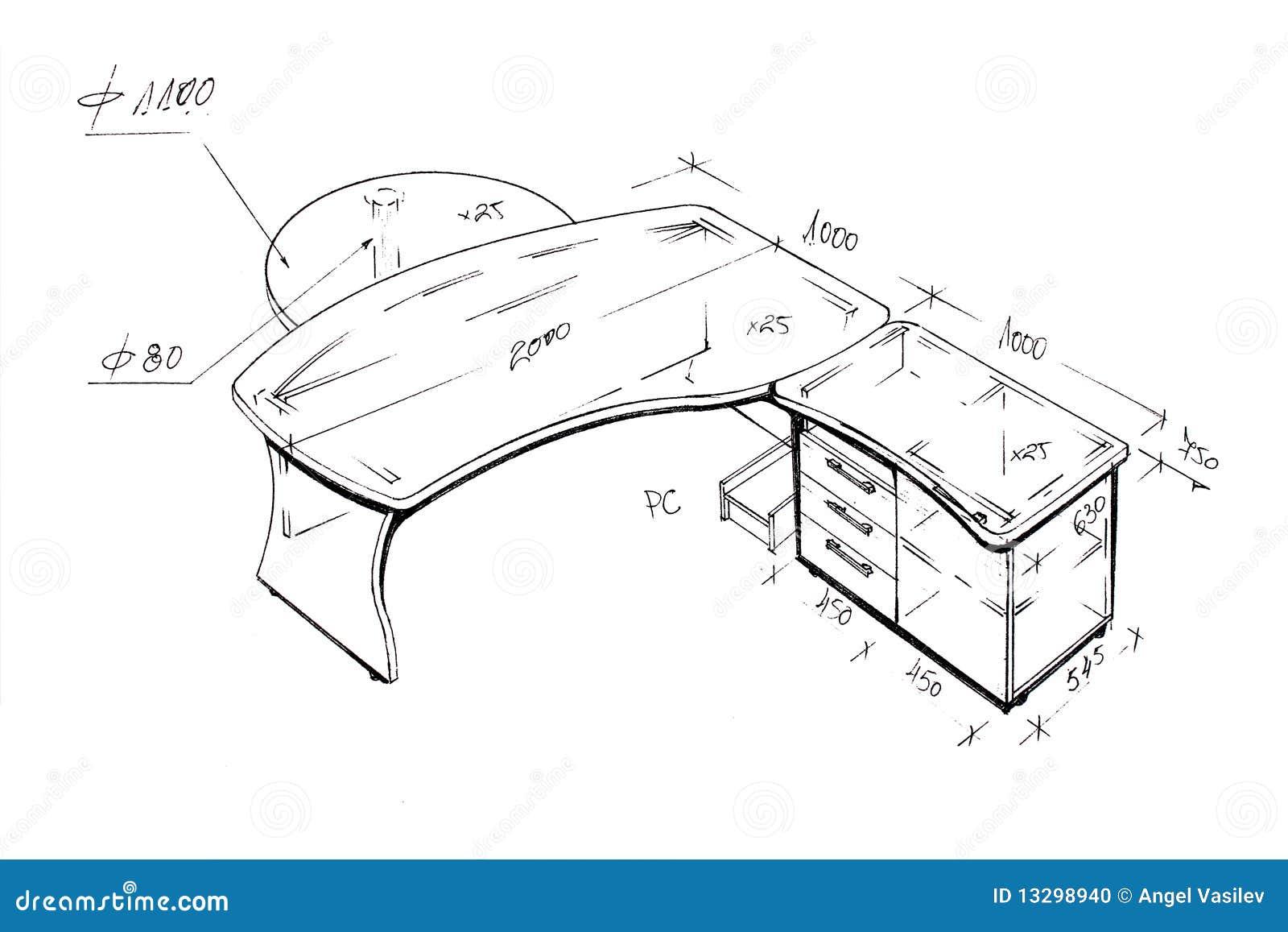 retrait de dessin main lev e moderne de bureau de. Black Bedroom Furniture Sets. Home Design Ideas