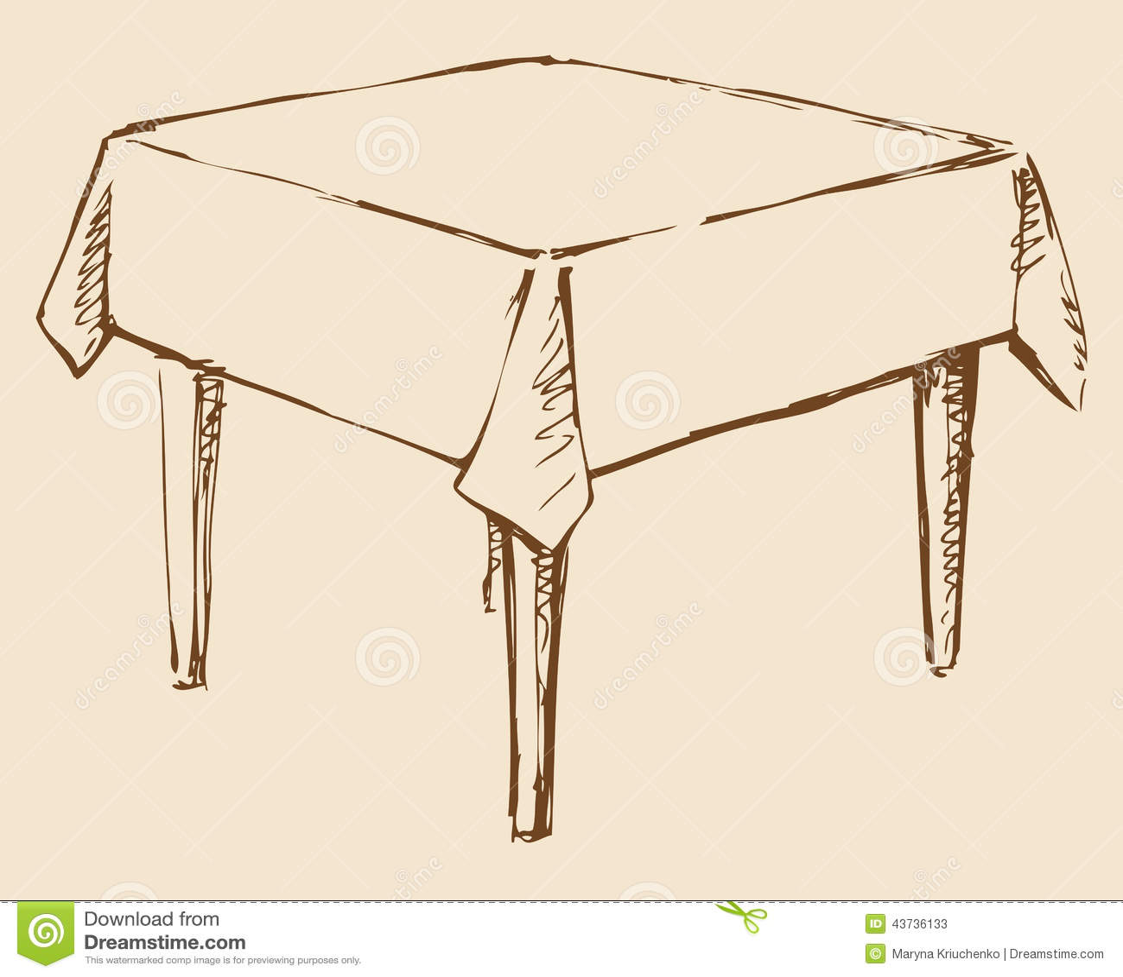 Retrait de vecteur table carr e avec la nappe illustration - Les nappes des tables ...