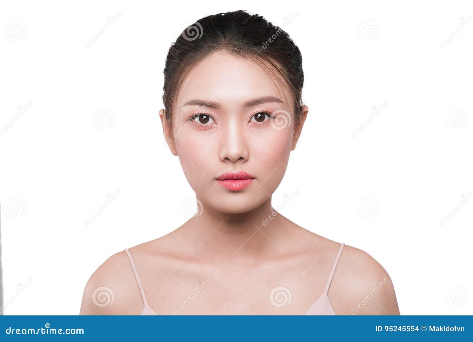 Retrato asiático da cara da mulher da beleza com pele limpa fresca perfeita