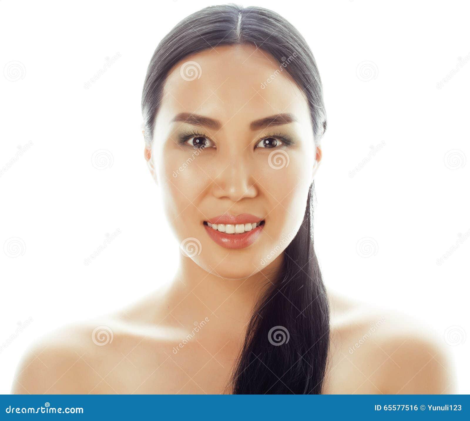 Retrato asiático do close up da face da beleza da mulher Asiático chinês atrativo bonito da raça misturada/modelo fêmea caucasian