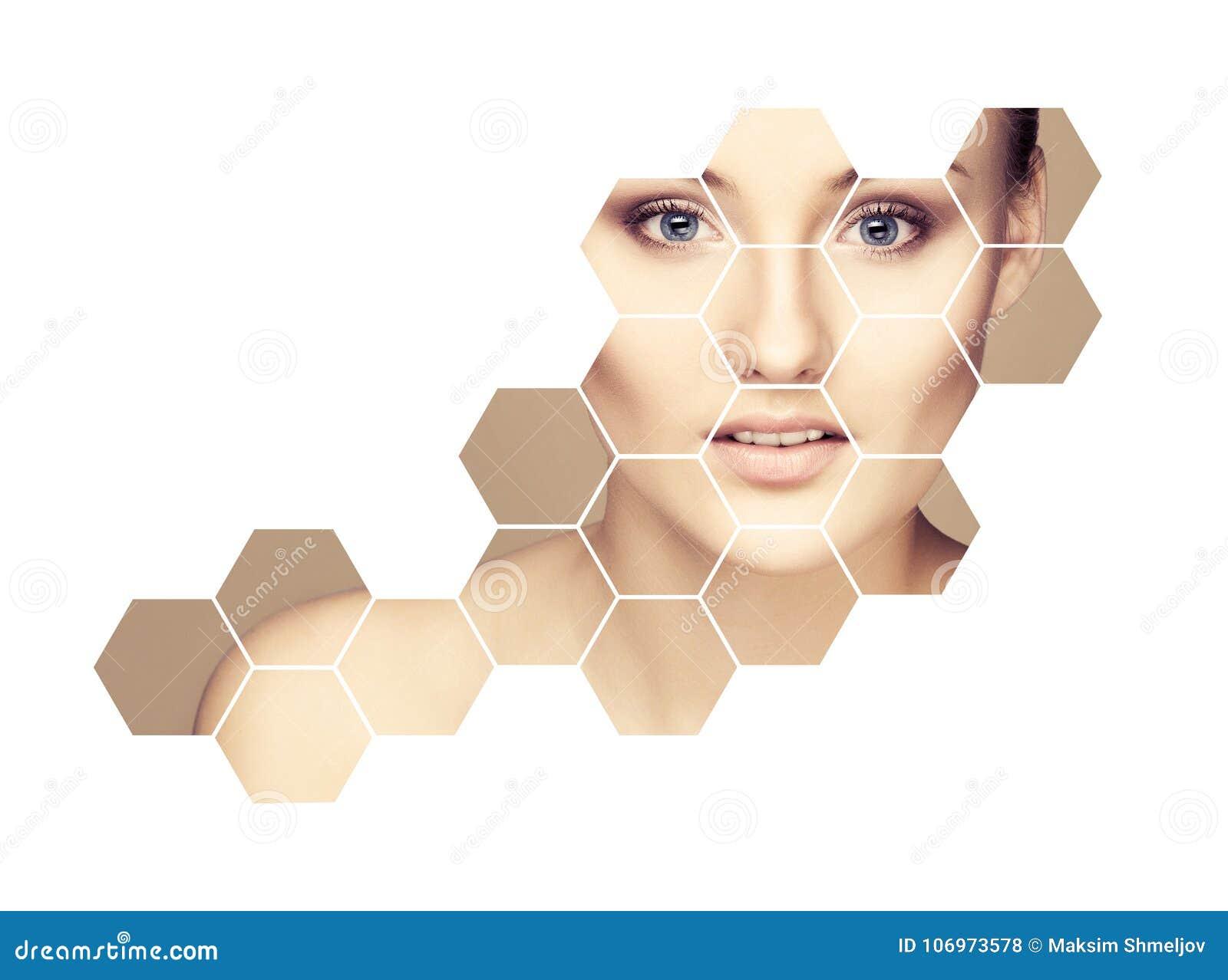 Retrato da cirurgia plástica da menina nova, saudável e bonita, da pele que levantam, dos termas, dos cosméticos e do conceito da