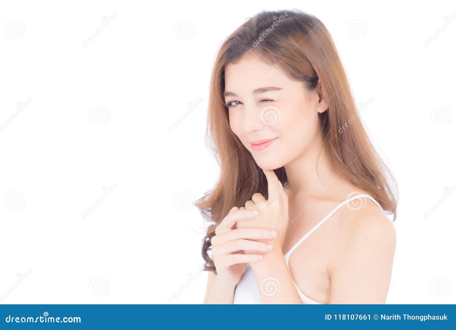 Retrato da composição asiática bonita da mulher do cosmético, do queixo do toque da mão da menina e do sorriso atrativos