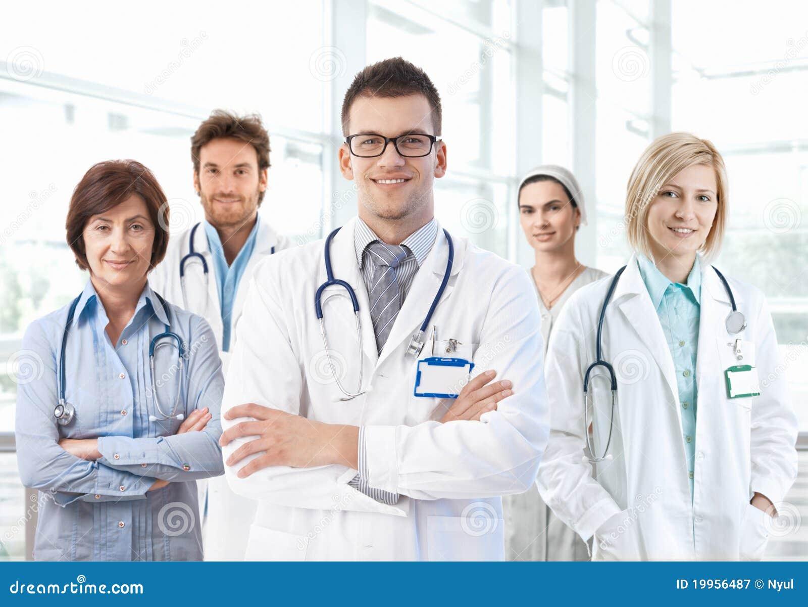 Retrato da equipa médica que está no hospital