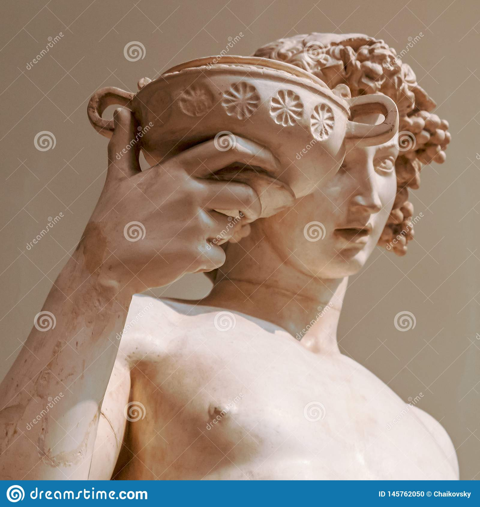 Retrato da est?tua de Dionysus Bacchus Wine
