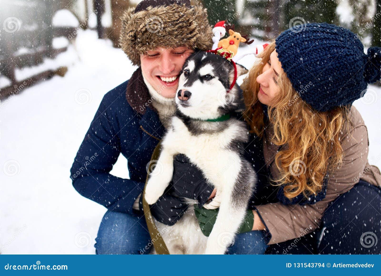 Retrato da família dos pares felizes bonitos que abraçam com seu cão do malamute do Alasca que lambe a cara do homem Vestir engra
