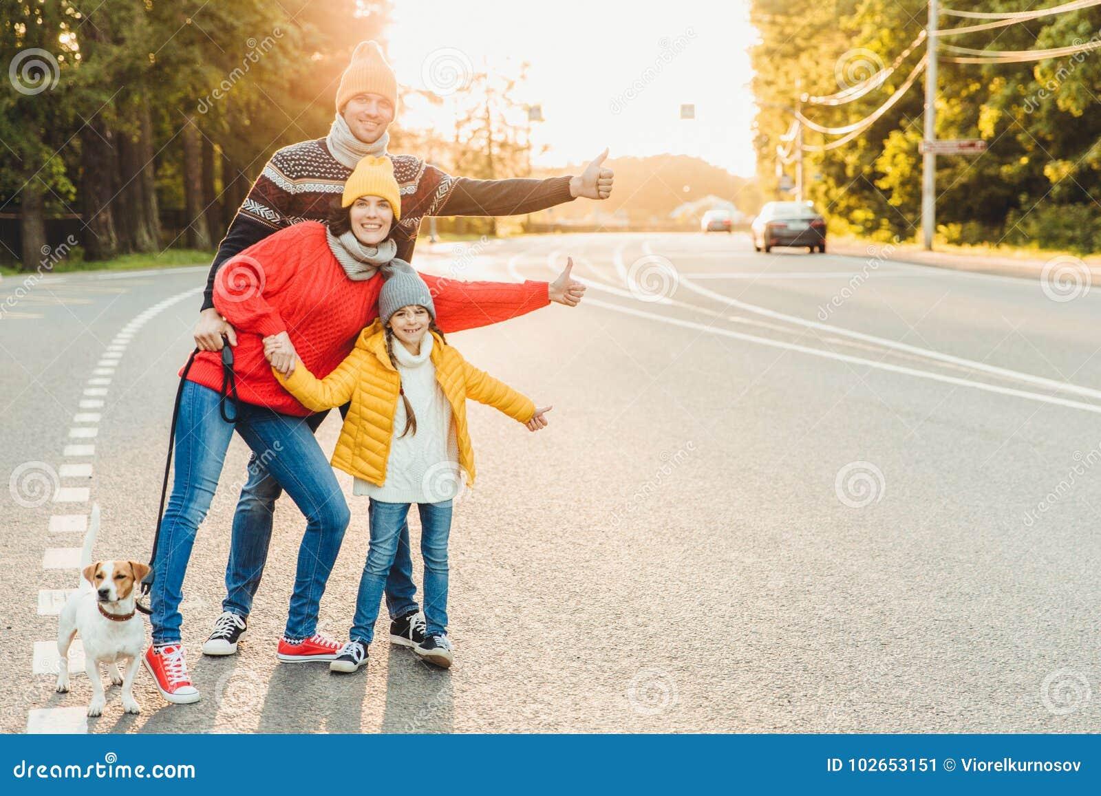 Retrato da família: a mãe, o pai e a filha pequena andam com animal de estimação, estão na estrada, polegares do aumento como o s