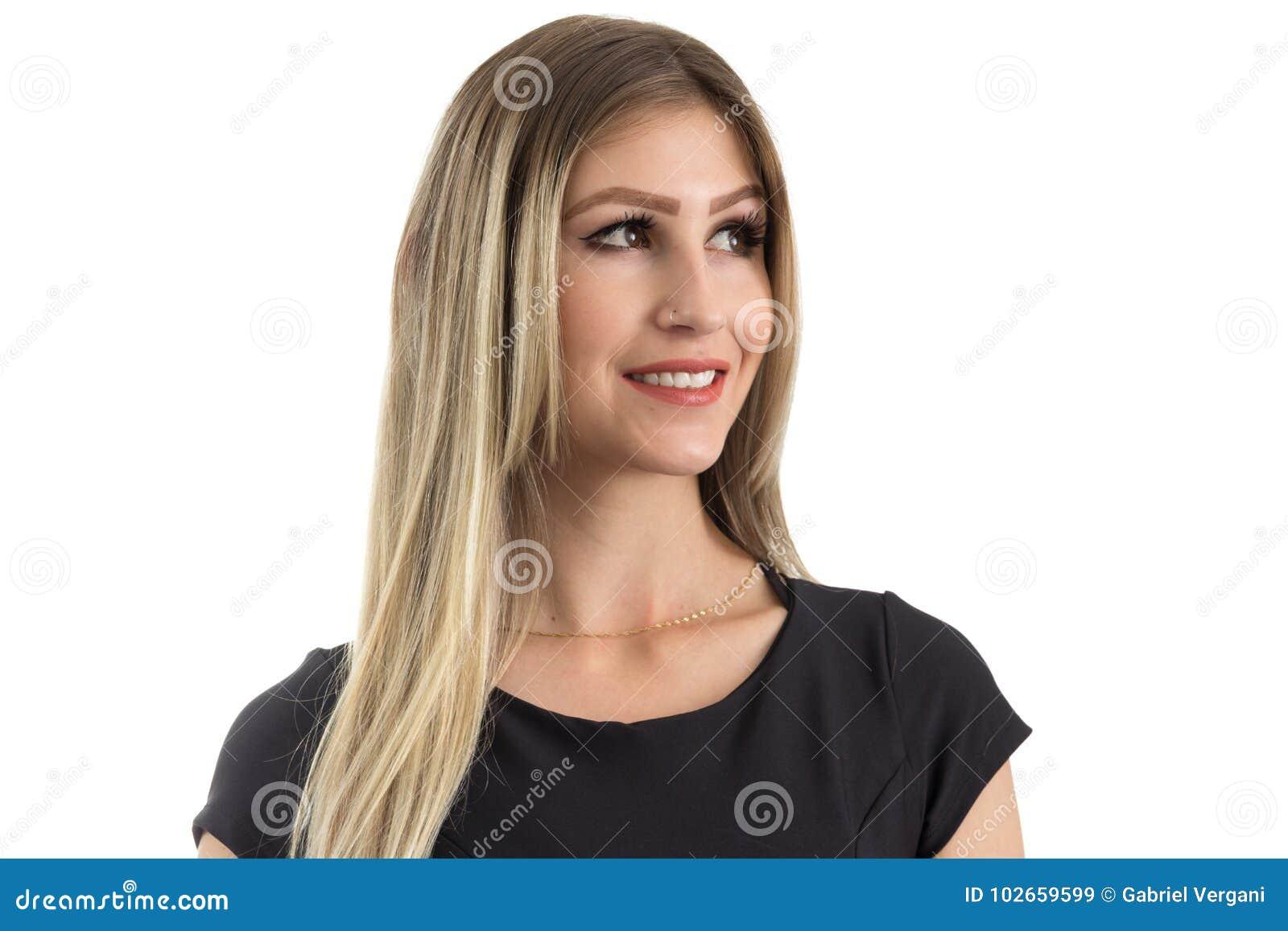Retrato da mulher bonita que olha ao lado Pessoa loura mim
