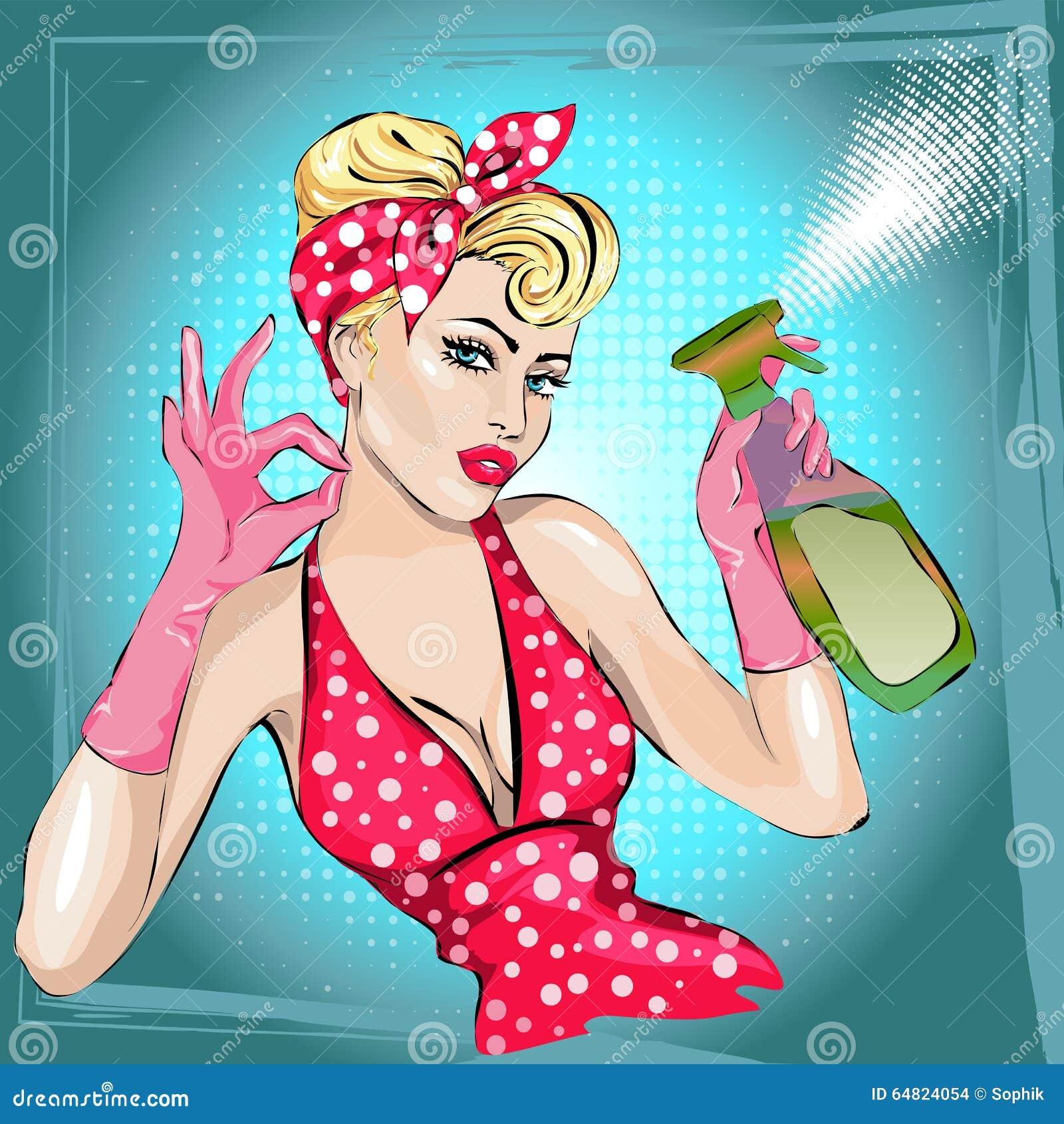 Retrato da mulher da dona de casa Pin-acima com limpador tarefas domésticas, esposa  sexy