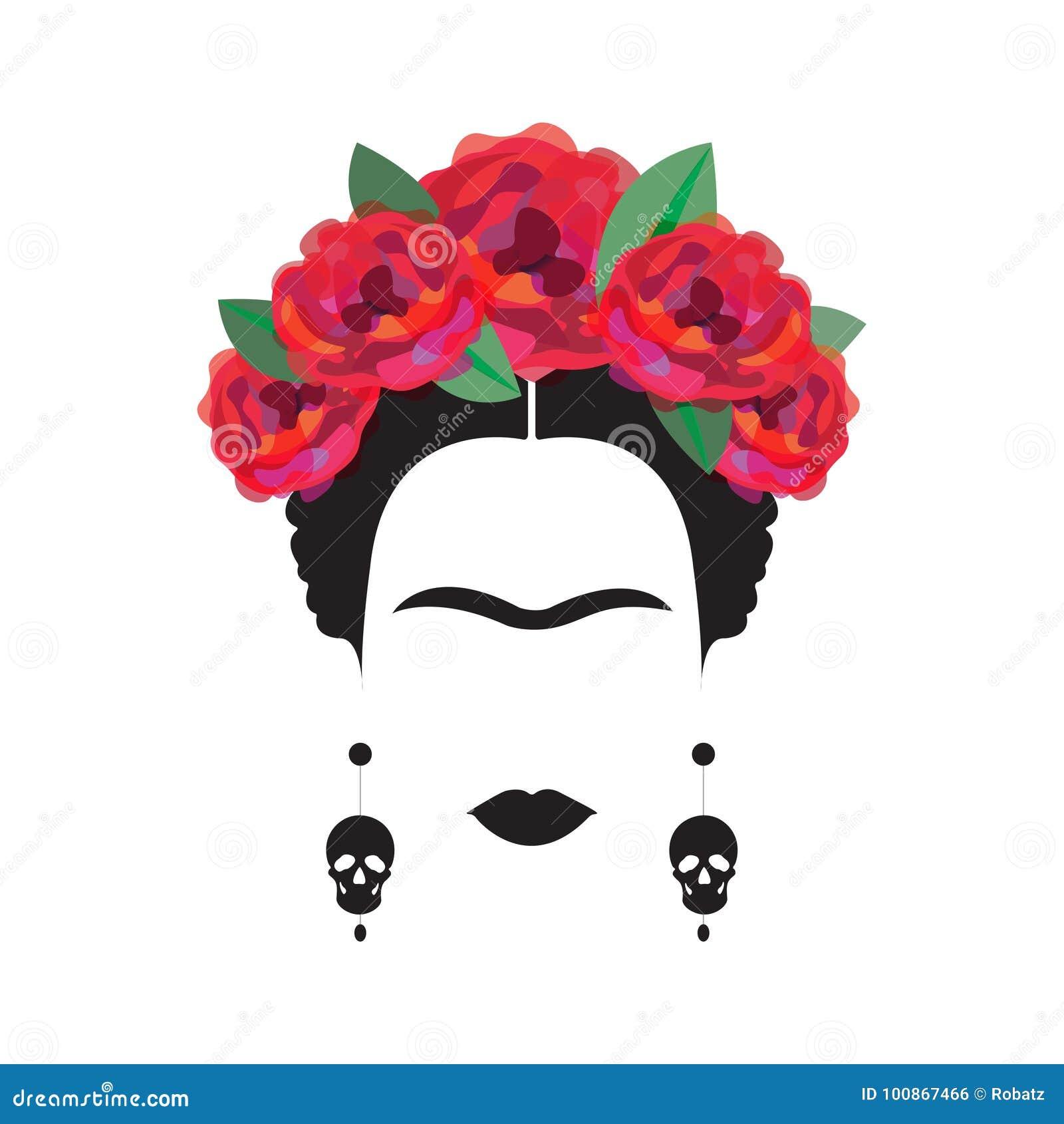 Retrato Da Mulher Mexicana Ou Espanhola Minimalista Ilustracao Do