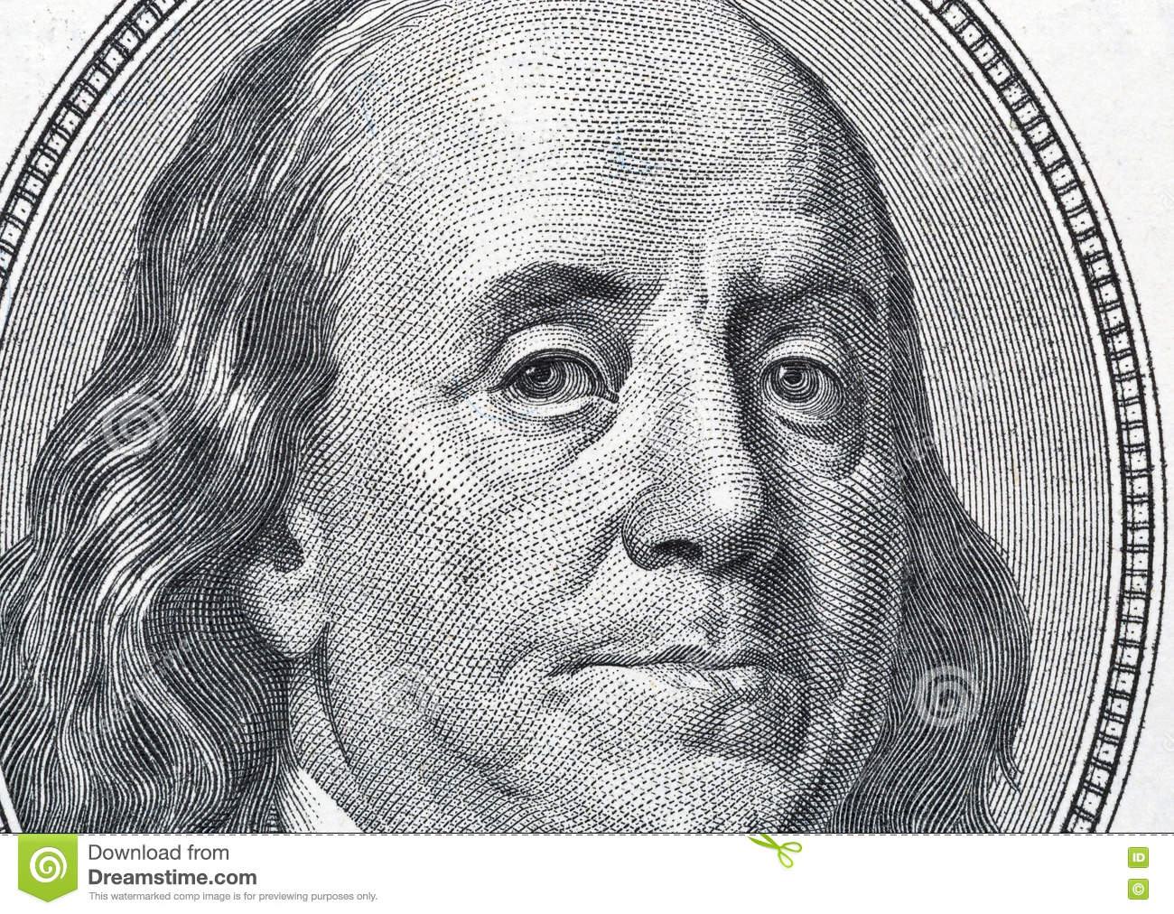 Retrato de Benjamin Franklin en cientos primers del billete de dólar