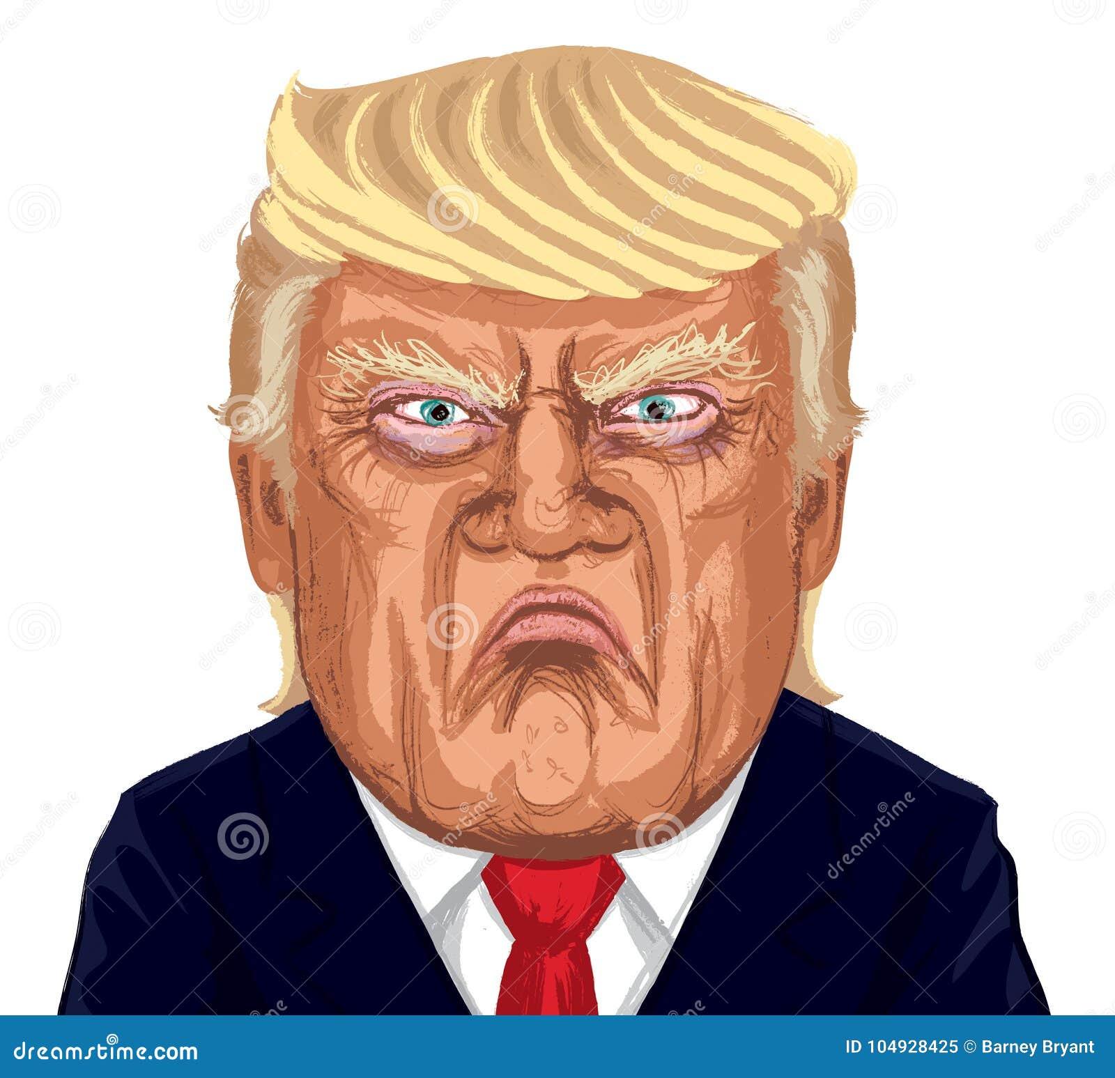 Retrato de Donald Trump Vetora Illustration Caricature