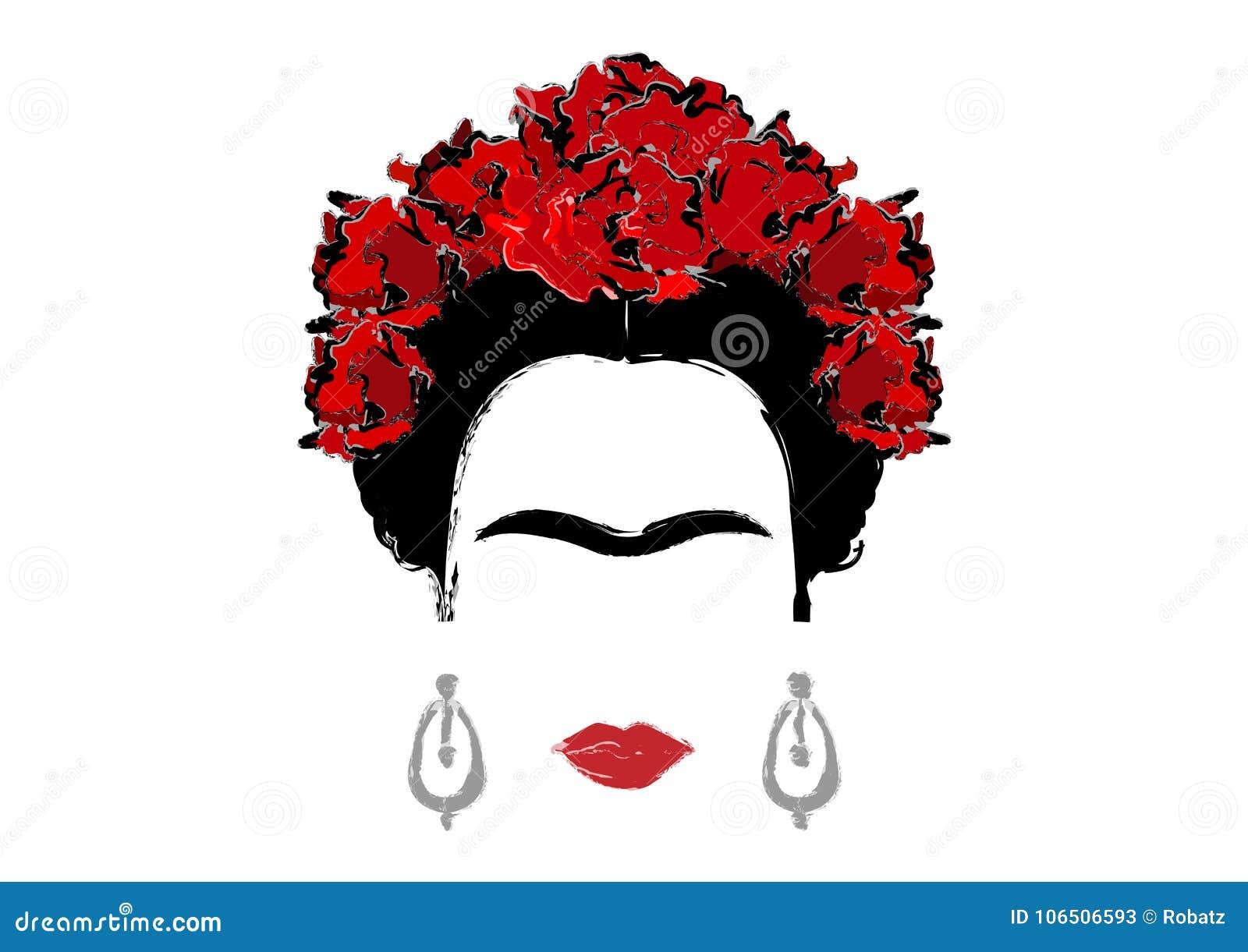 Retrato de Frida Kahlo, ilustração do vetor isolada, retrato da mulher mexicana ou espanhola moderna, estilo de tiragem
