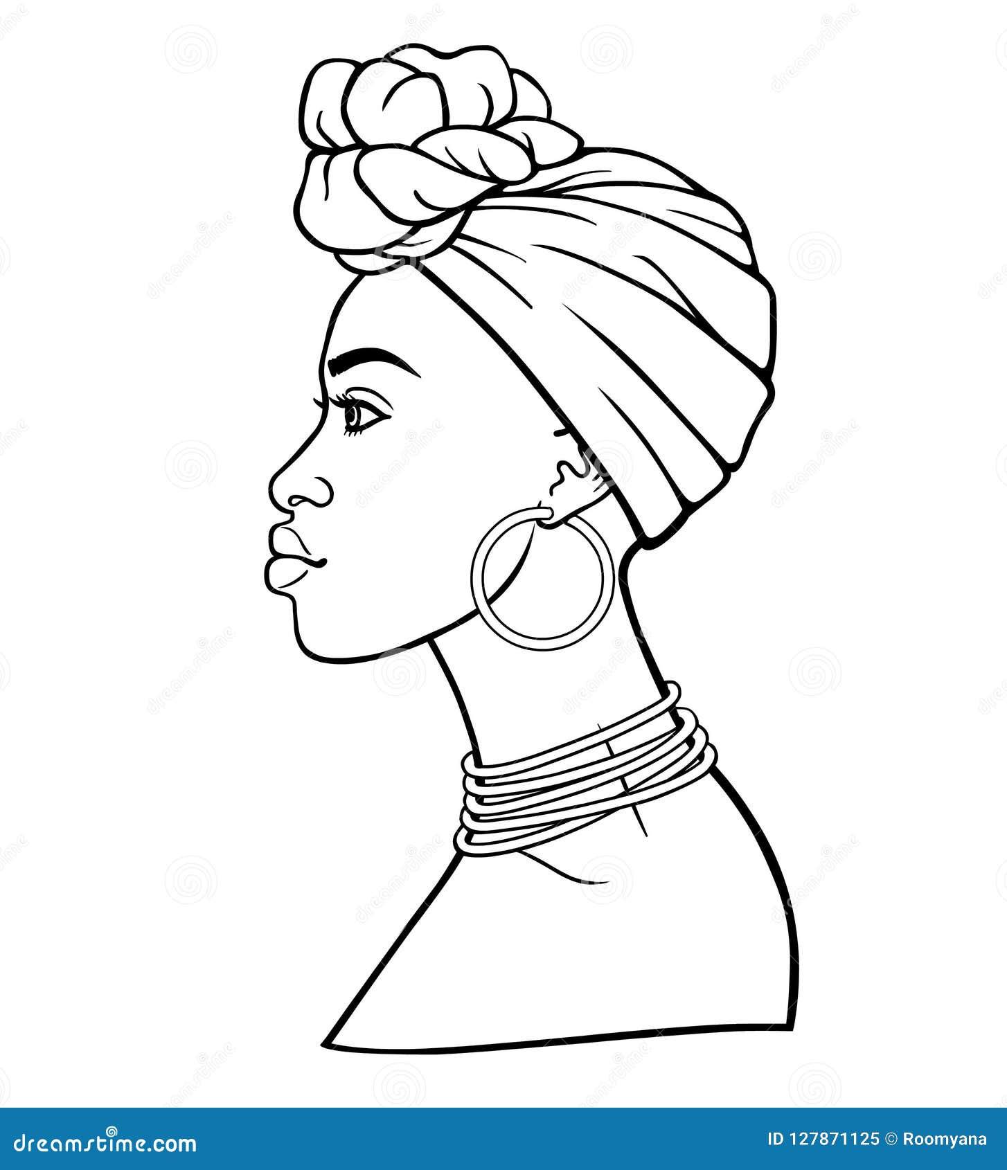 Retrato de la animación de la mujer africana joven en un turbante Opinión del perfil