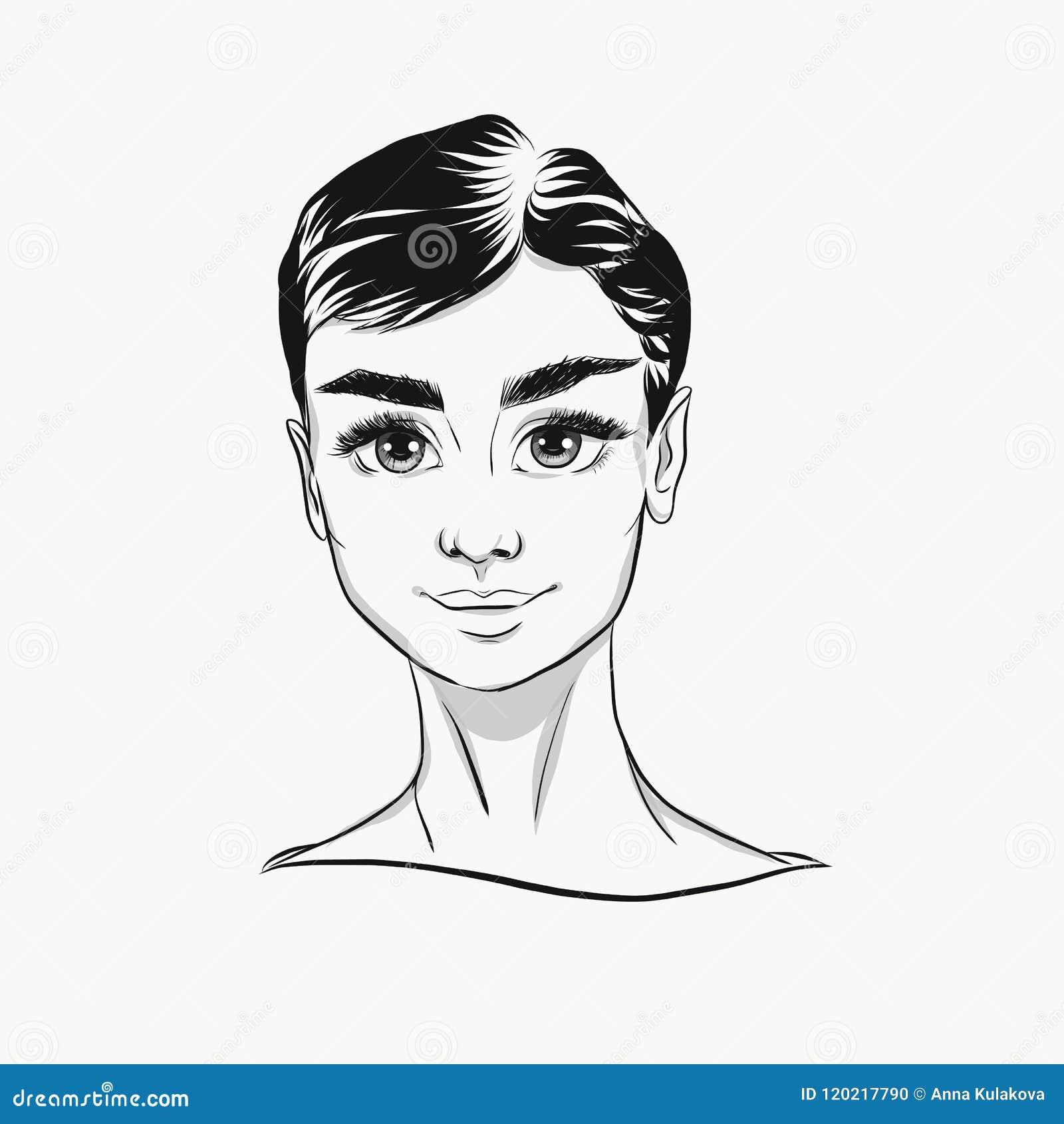 Retrato de la historieta de Audrey Hepburn del vector blanco y negro Cara linda con los ojos grandes para la impresión de la moda