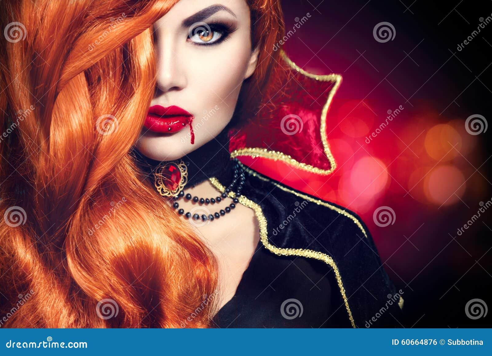 Retrato de la mujer del vampiro de Halloween
