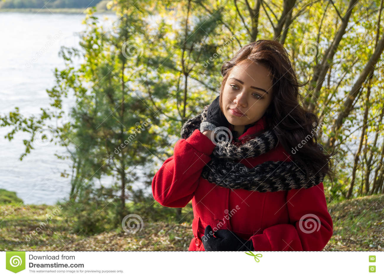 Retrato de la mujer hermosa con el pelo oscuro que lleva el rojo elegante c