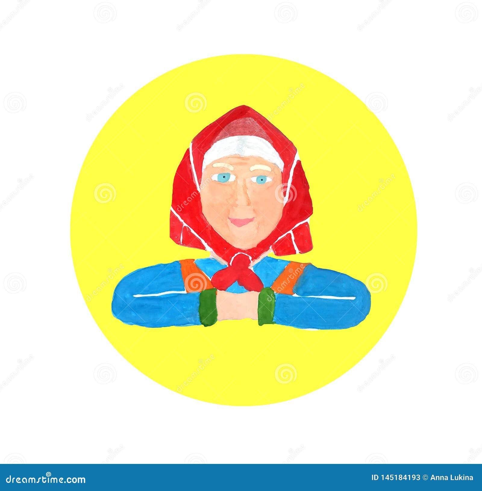 Retrato de la mujer mayor hermosa con el pelo blanco y el mant?n rojo Acuarela del dibujo Historieta para el dise?o de concepto