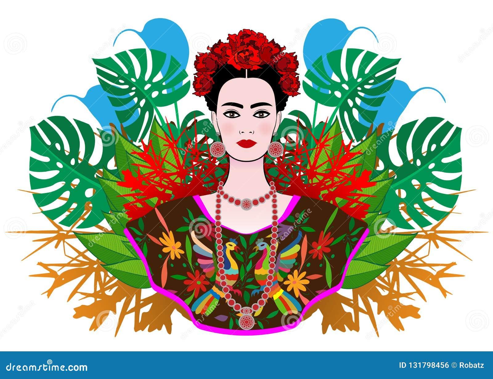 e8d37404d7 Retrato de la mujer mexicana hermosa joven con un peinado tradicional Joyas  mexicanas