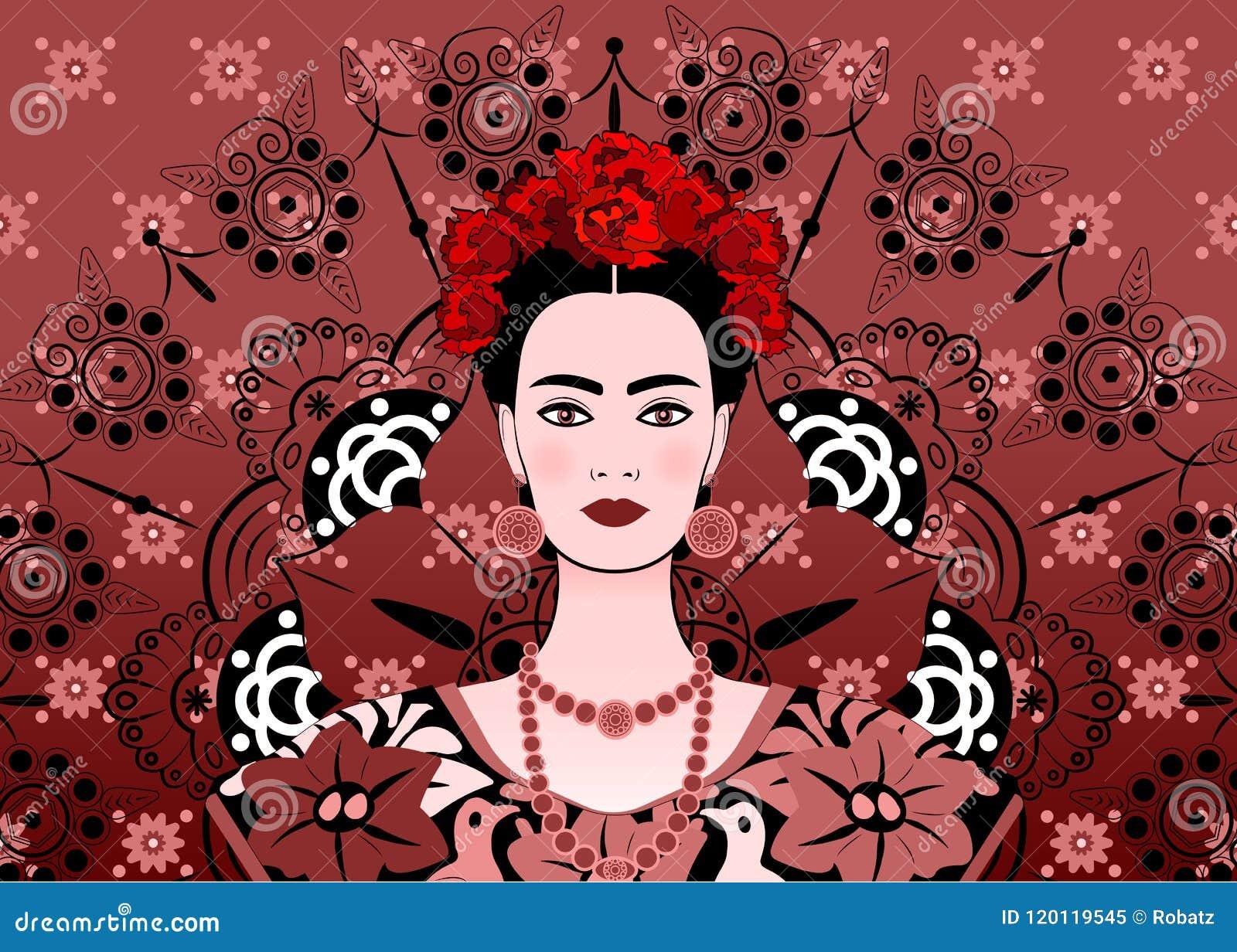 fabricación hábil mayor descuento bonita y colorida Retrato De La Mujer Mexicana Hermosa Joven Con Un Peinado ...