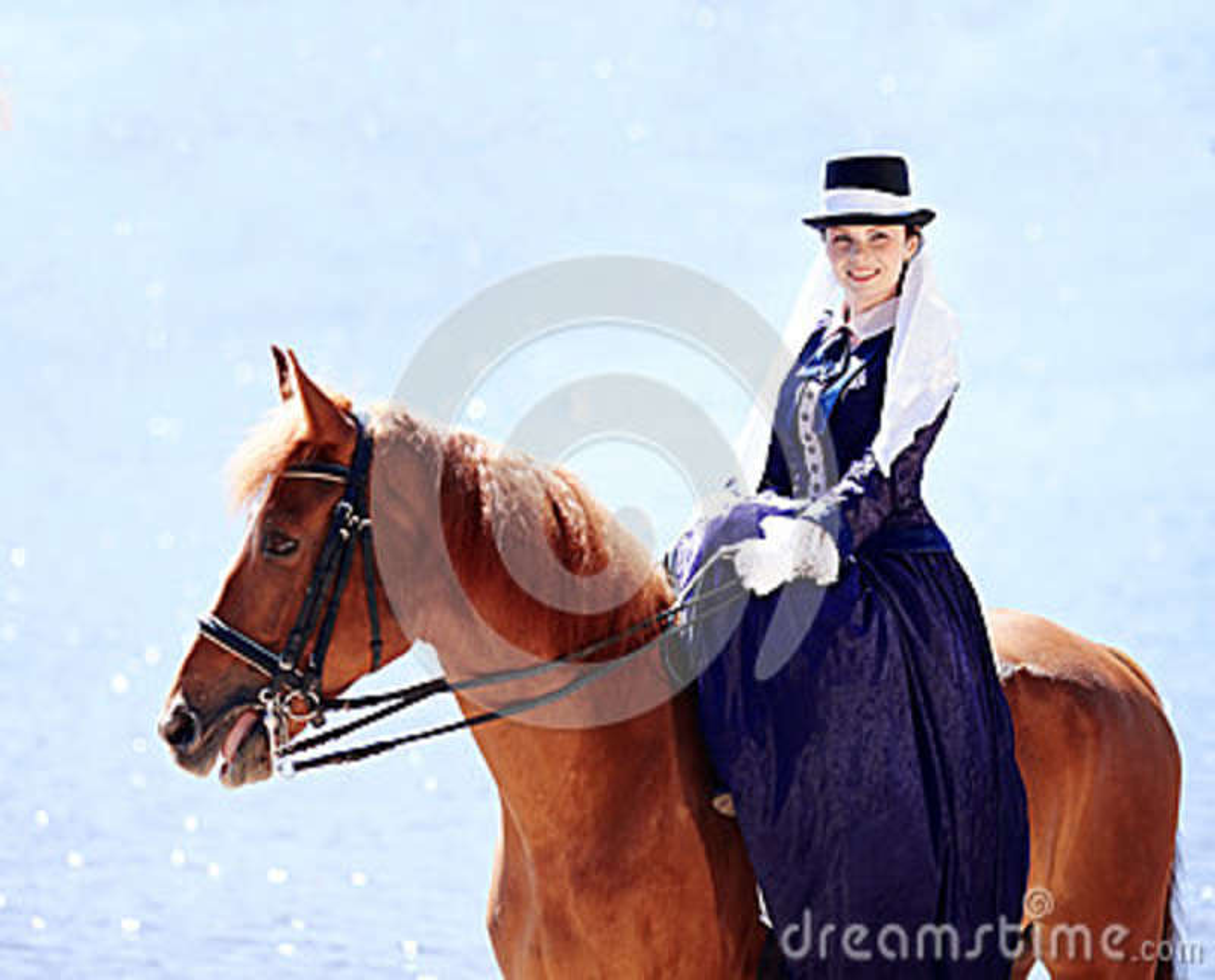 Retrato de la señora en un caballo rojo